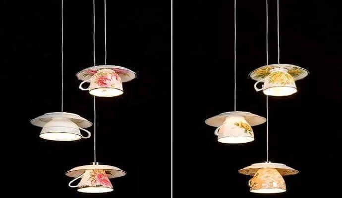 Usi alternativi delle tazze: lampadario