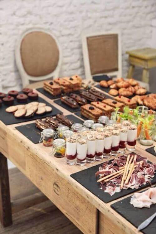 esposizione cibo per un buffet