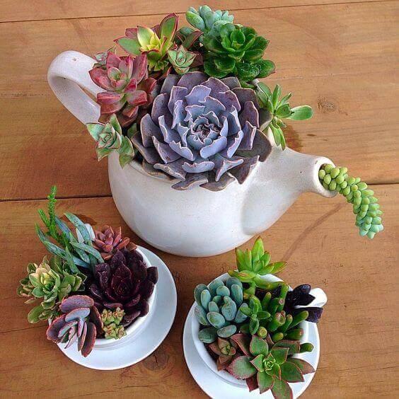 Fioriere creative con teiere e tazze