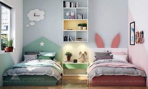 Camera per bambini con due letti