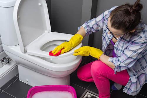 Disinfettare la casa donna che pulisce il water