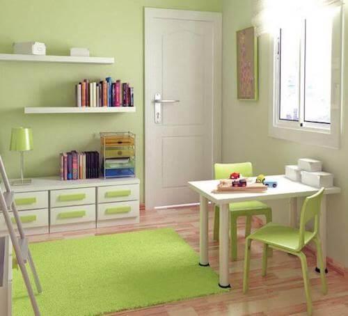 cameretta bambini pareti sedie tappeto lampada verde pistacchio