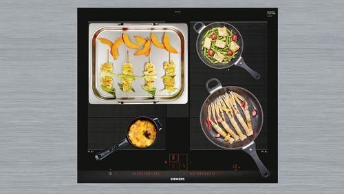 Foto dall'alto di una cucina a induzione.