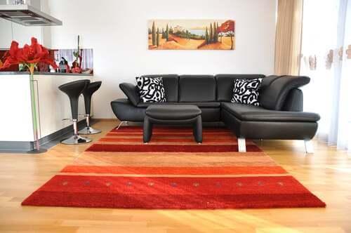 Tappeto arancione e rosso per il soggiorno.