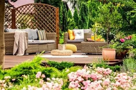 Casa con patio e piante.
