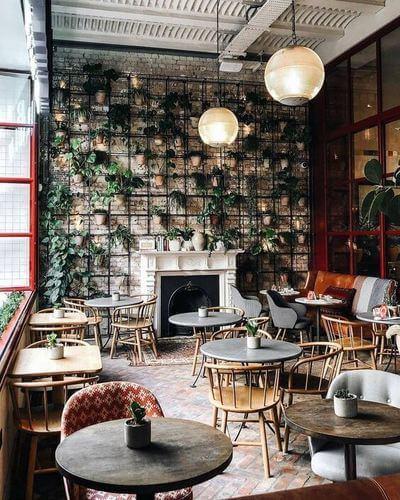 Bar con la parete piena di piante.