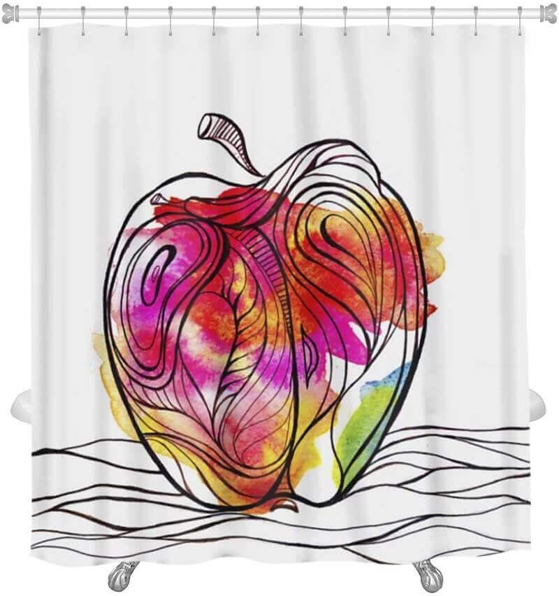 Tenda decorata con il disegno di una mela.