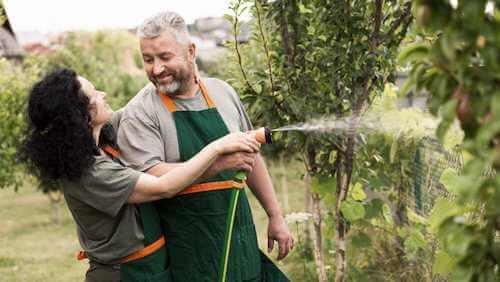 Annaffiare le piante. Marito e moglie che annaffiano il giardino.