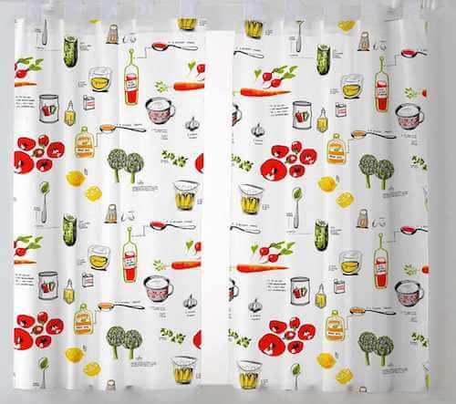 Stampe per tende. Tenda per la cucina con motivi legati al cibo.