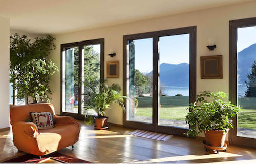 Soggiorno con pavimenti in legno e ampie vetrate decorato con le piante.