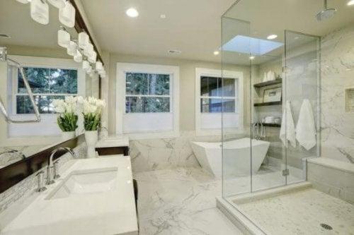 ガラス張りの浴室 バスルーム内のレイアウト