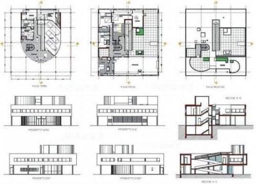 サヴォア邸の設計図