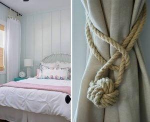リビングルームにカーテンをかける独創的な方法 ジュード素材のロープ