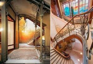 モダニズム建築:タッセル邸のインテリアデザイン タッセル邸の階段