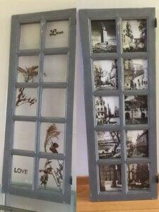 木のドアを使った写真フレーム 低コストなホームデコレーション