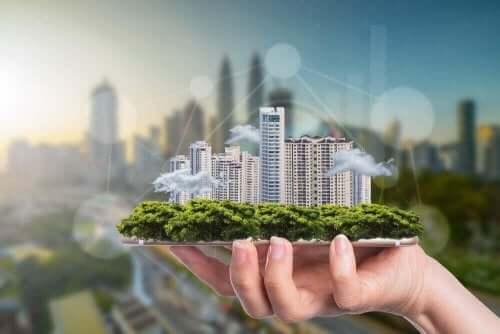 サスティナブル建築と高層ビルの壁面緑化