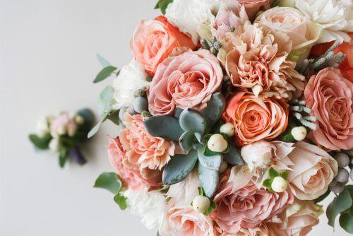완벽하게 관리한 핑크빛의 장미 덤불