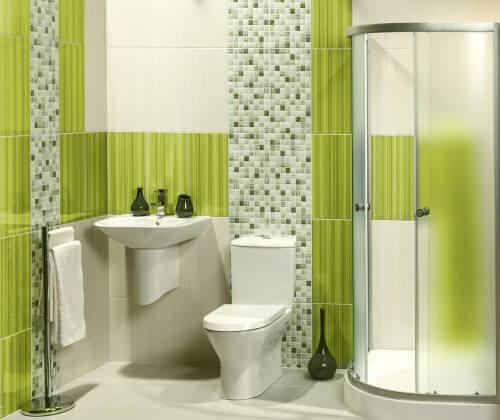 초록색으로 화장실을 근사하게 꾸며보자.