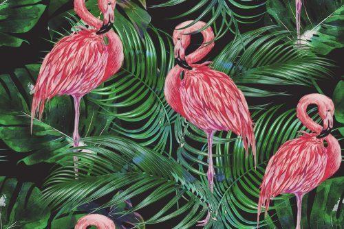 열대 동물 모티브에는 파란색, 진분홍색, 초록색 등 밝고 강렬한 색이 많이 쓰인다.