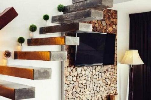 모던하고 미니멀한 시멘트 계단