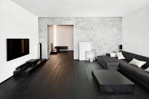 라미네이트 바닥재와 거실