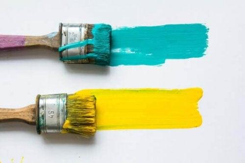 노란색과 청록색을 함께 사용해 보기