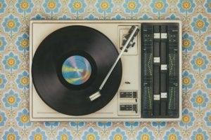 빈티지 음악 세트 – 레코드 플레이어