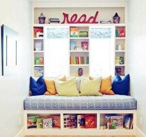 아이들을 위한 도서관 테마의 거실