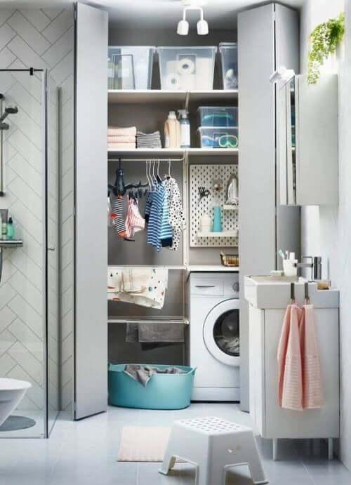 미니 세탁실: 세탁실을 욕실에 통합하는 것