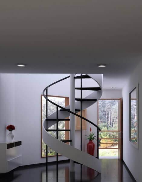 나선형 디자인으로 집 계단을 계획하기