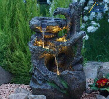 아름다운 미니멀리즘 정원 분수