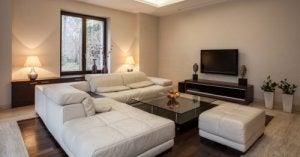 Gezellige woonkamer met een witte bank en natuurlijk licht