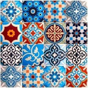 Hydralische tegels met Scandinavisch blauw en rood