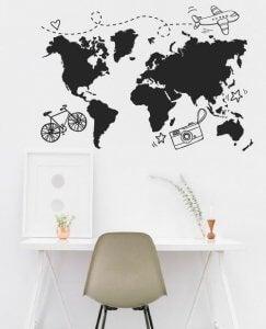 Landkaarten kun je schilderen op de muur in de tienerkamer