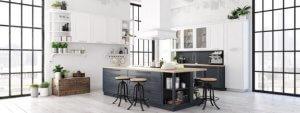 Scandinavische keuken in zwart wit