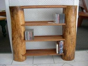 Boomstammen als decoratie rustieke planken