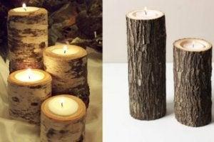 Boomstammen als decoratie kaarsenhouders