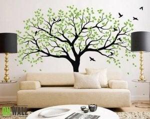 Decoratieve stickers boom met vogeltjes