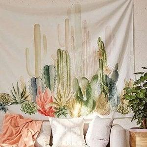 Een polyester wandtapijt met cactussen zorgt voor een mooi effect