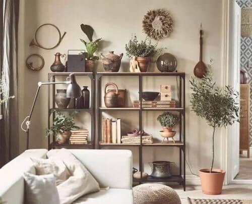 Vakkenkast in een rustieke woonkamer