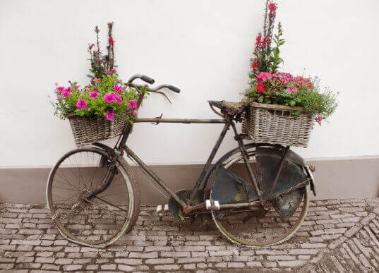 Oude fiets met manden vol bloemen