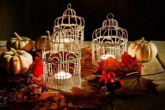 Decoratieve vogelkooien met kaarsen