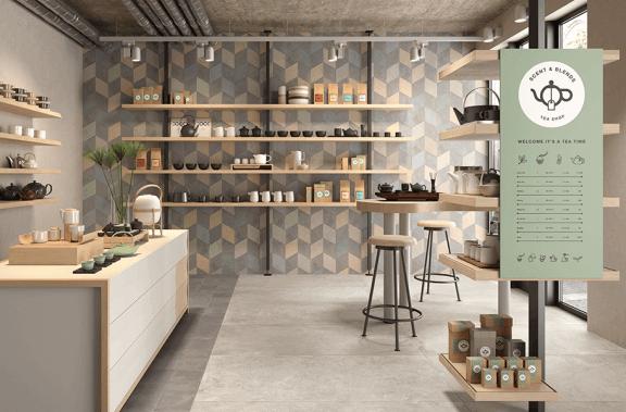 Keuken met een speelse muur