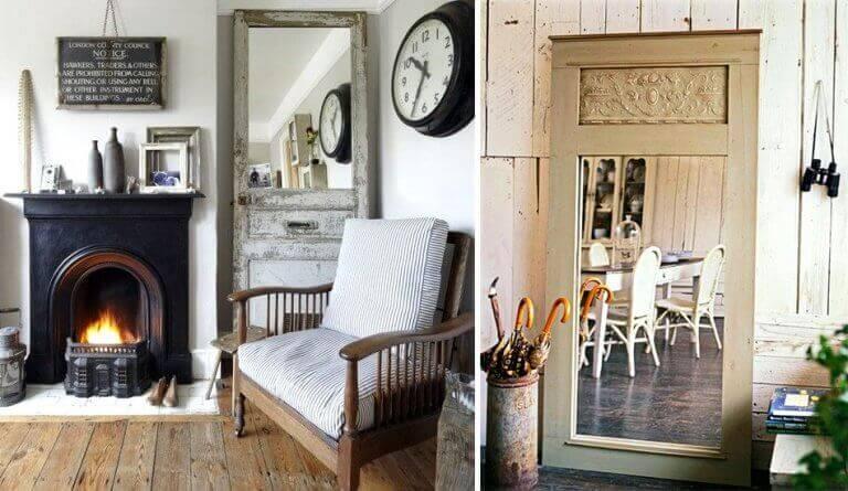 Kamer hoge spiegel als goedkope huisinrichting