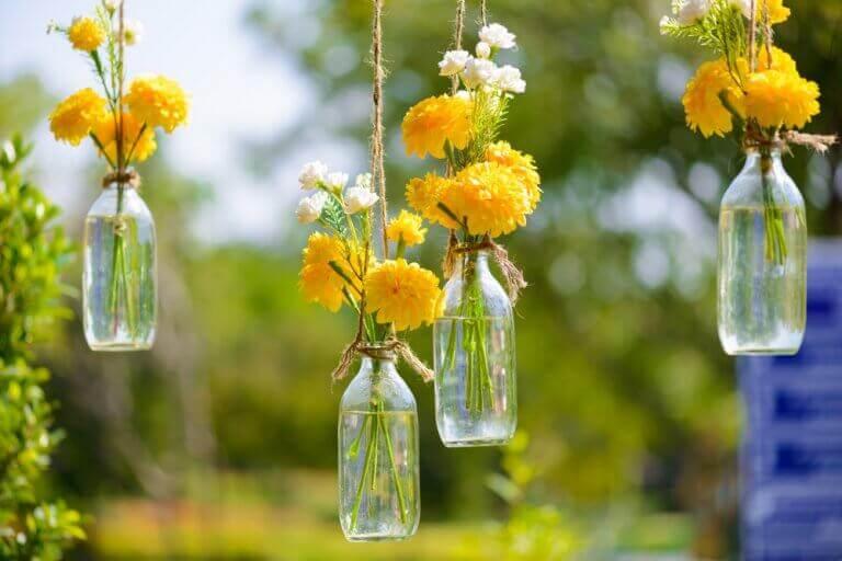Glazen flessen met gele bloemen