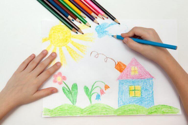 Tekening van een huis en de zon