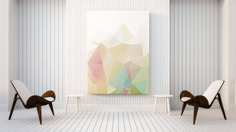 Moderne kunst als decoratie in een minimalistische kamer