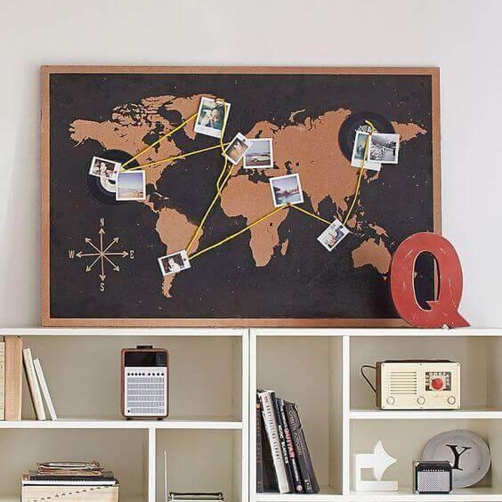 Wereldkaart met foto's