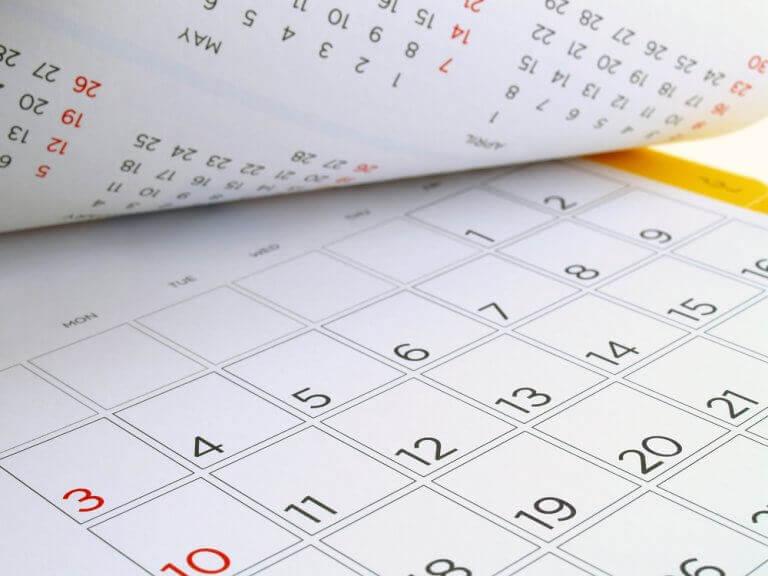 Kalender voor een tijdschema