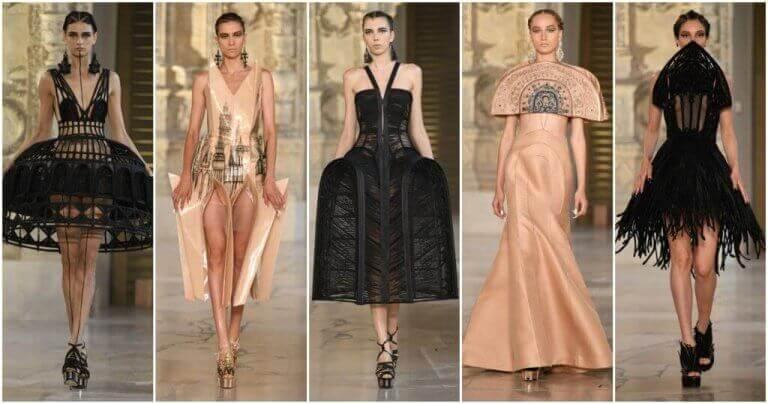 Verschillende jurken van een modeshow